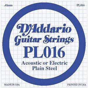 D`ADDARIO PL016 Single Plain Steel 016