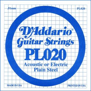 D`ADDARIO PL020 Single Plain Steel 020