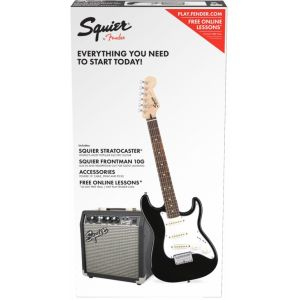 Squier Stratocaster® Pack, Laurel Fingerboard, Black, Gig Bag, 10G - 230V EU